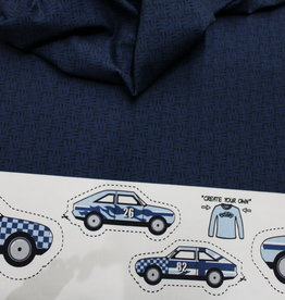 Hilco Paneel Create your own sweater - blue cars