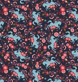 Poppy Katoen Spirit horses navy