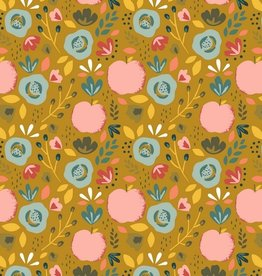 Poppy Katoen poplin easy peachy oker