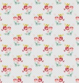 Poppy Katoen Charming Roses Grey