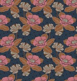 Poppy Katoen Poplin Oriental Flower Navy