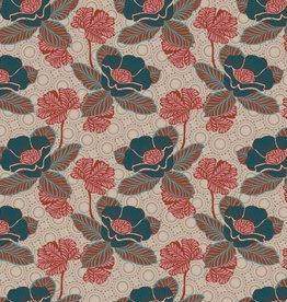 Poppy Katoen Poplin Oriental Flower Beige