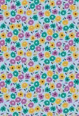 Poppy Katoen Flower Fields lichtblauw