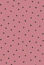 Poppy Katoen Poplin Brushed Hearts Rose