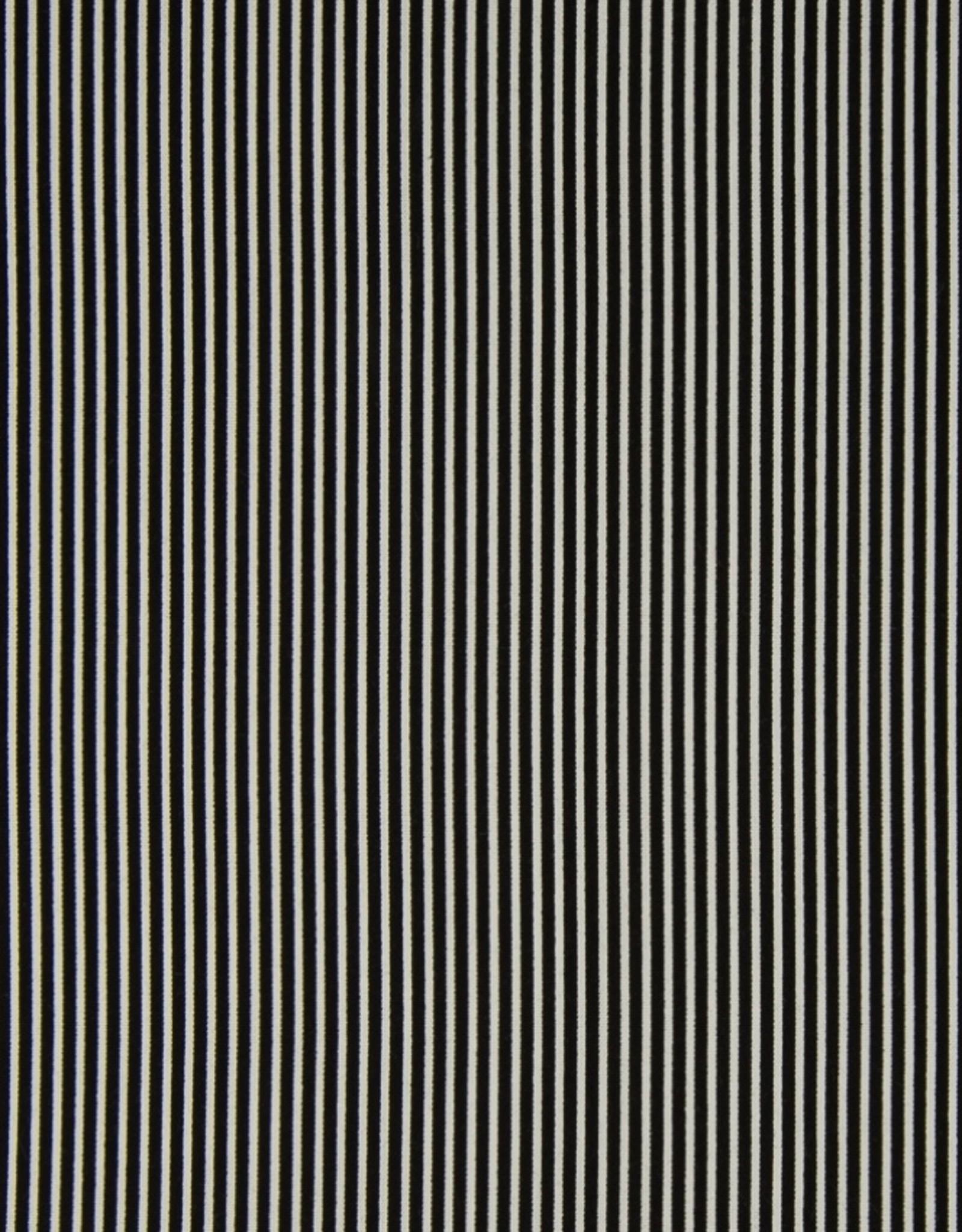 Qjutie Katoen fijne strepen zwart/wit