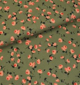 Hilco COUPON Clementia - viscose zalm bloemetjes 150x140cm