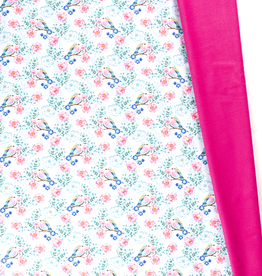Softshell digital birds aqua & fuchsia