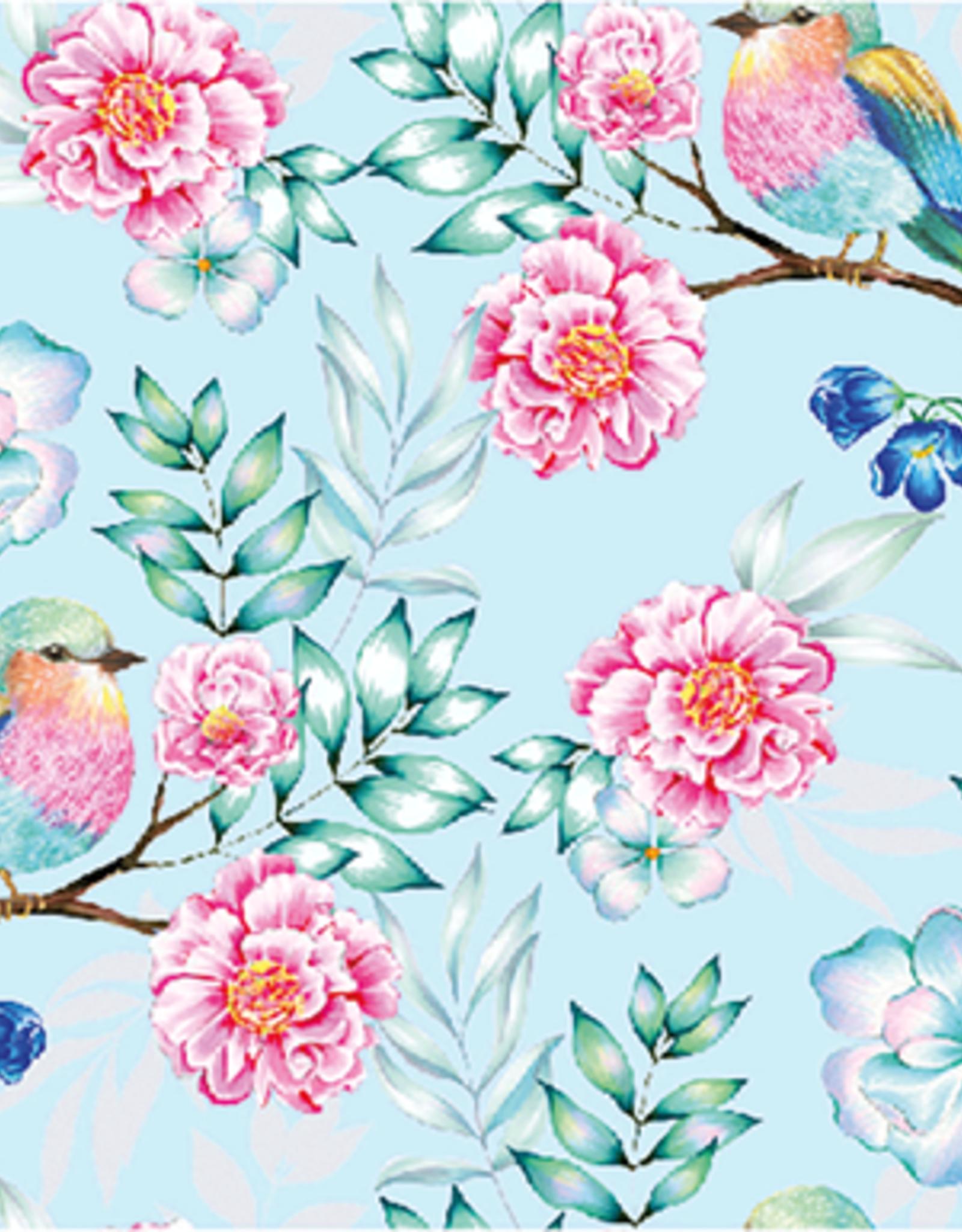 Softshell digital birds aqua & fuchsia
