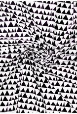Katoen popeline black&white triangles