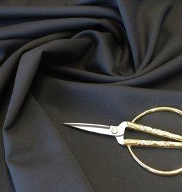 Wol-polyester-elastaan broekenstof zwart