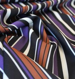 A La Ville Haute Couture Crepe stretch paars/roest gestreept