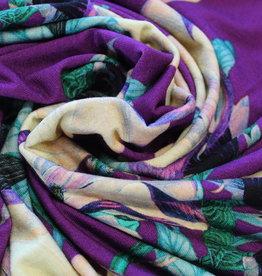 Mies&Moos Viscosetricot warm paars groot gebloemd