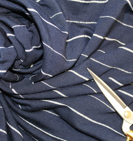 COUPON Tencel tricot navy zilver streep - Froy&Dind 30x180cm