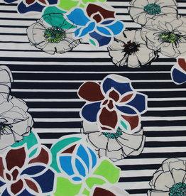 COUPON Viscosetricot gestreept patroon met bloemen 140x145cm