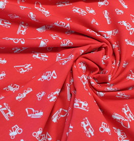 Sam COUPON Tricot Vehicles rood 65x150cm