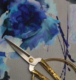 A La Ville Haute Couture Piqué katoen grijsblauw gebloemd