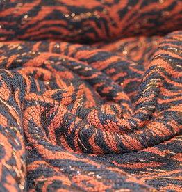 Jacquard dierenprint navy/oranje/koper glitter