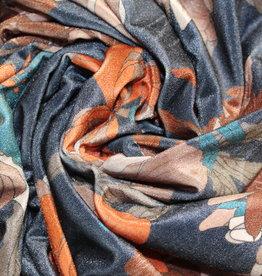 A La Ville Haute Couture Retro velvet jeansblauw gebloemd
