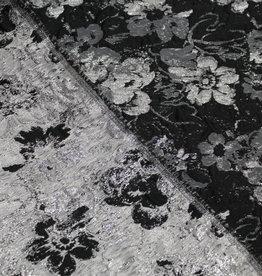 Jacquard silver lurex flowers