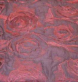 Nooteboom Gewatteerde jacquard bordeau rozen