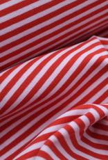 boordstof 5mm gestreept rood/rose 46cm tubular