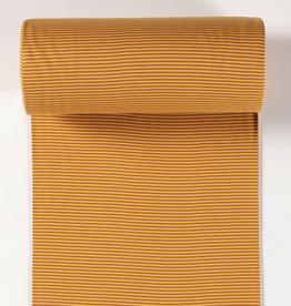 boordstof gestreept brique/warm geel 35cm tubular