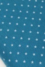 Boordstof sterretjesprint turquoise 35cm tubular