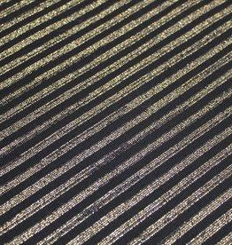 ALB Stoffe Boordstof glam zwart goud gestreept 35cm tubular