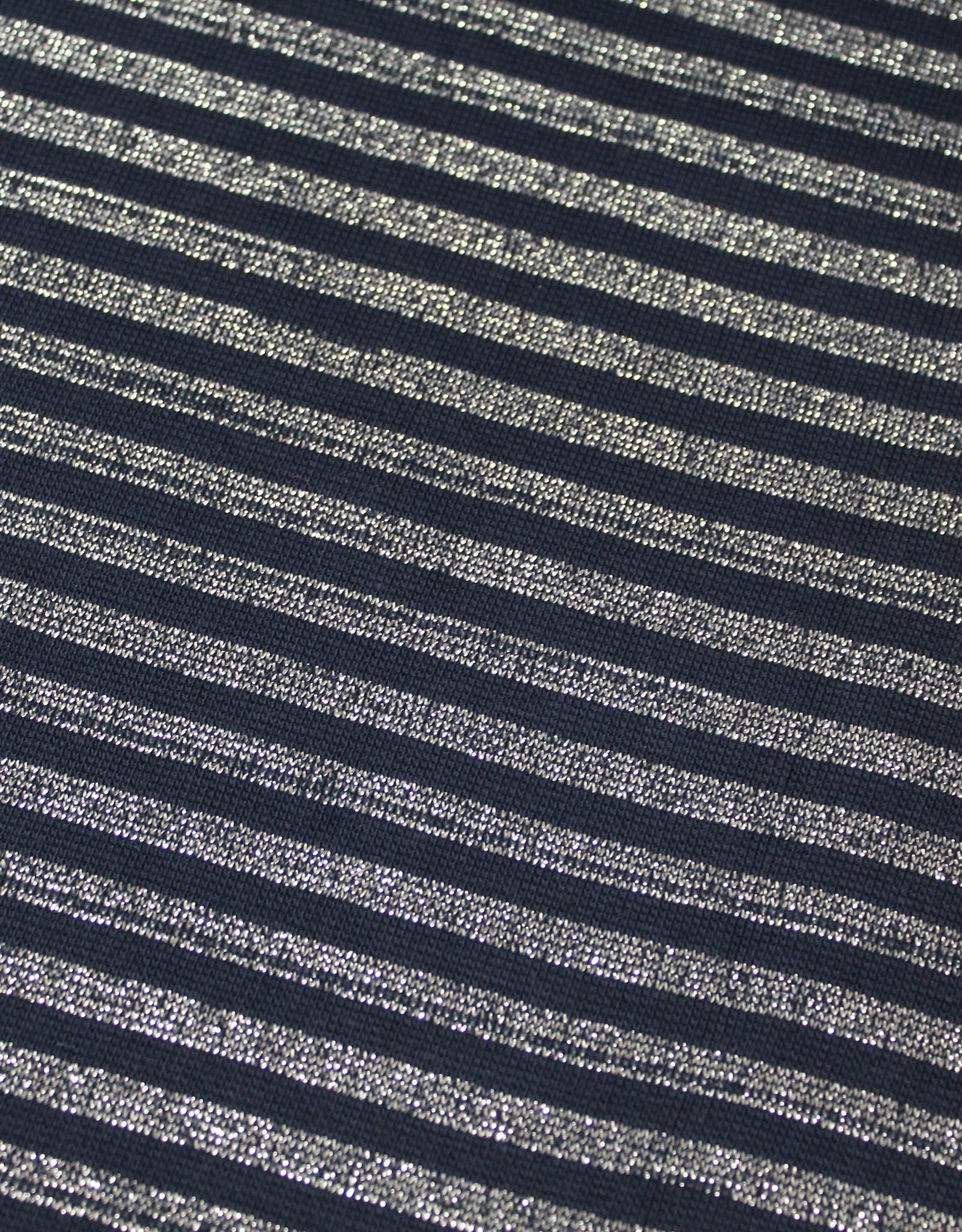 ALB Stoffe Boordstof glam navy zilver gestreept 35cm tubular