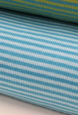 Hilco boordstof rib 3mm gestreept lichtblauw/turquoise 45cm tubular