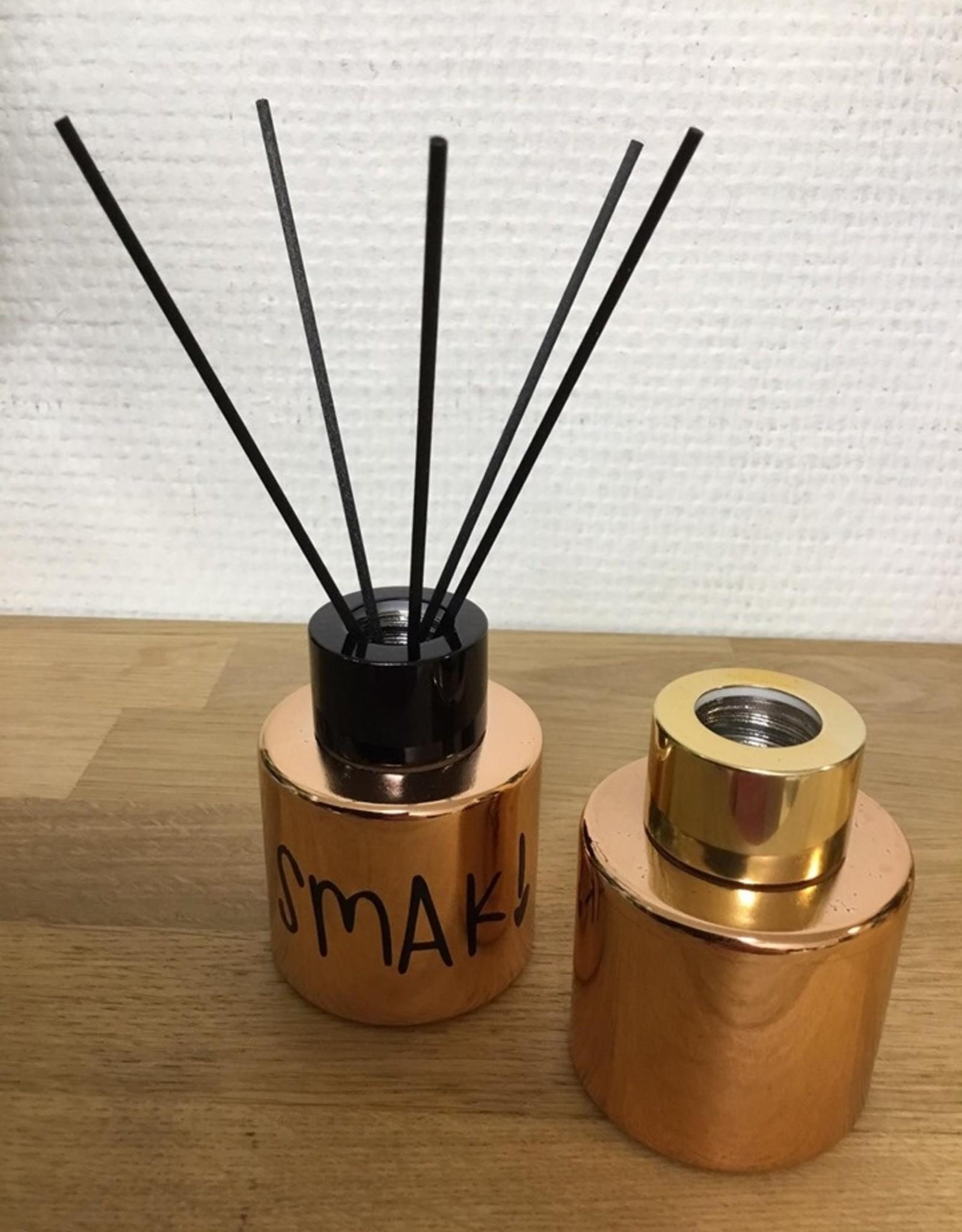geurpotje huisparfum met stokjes rose gold - gepersonaliseerd