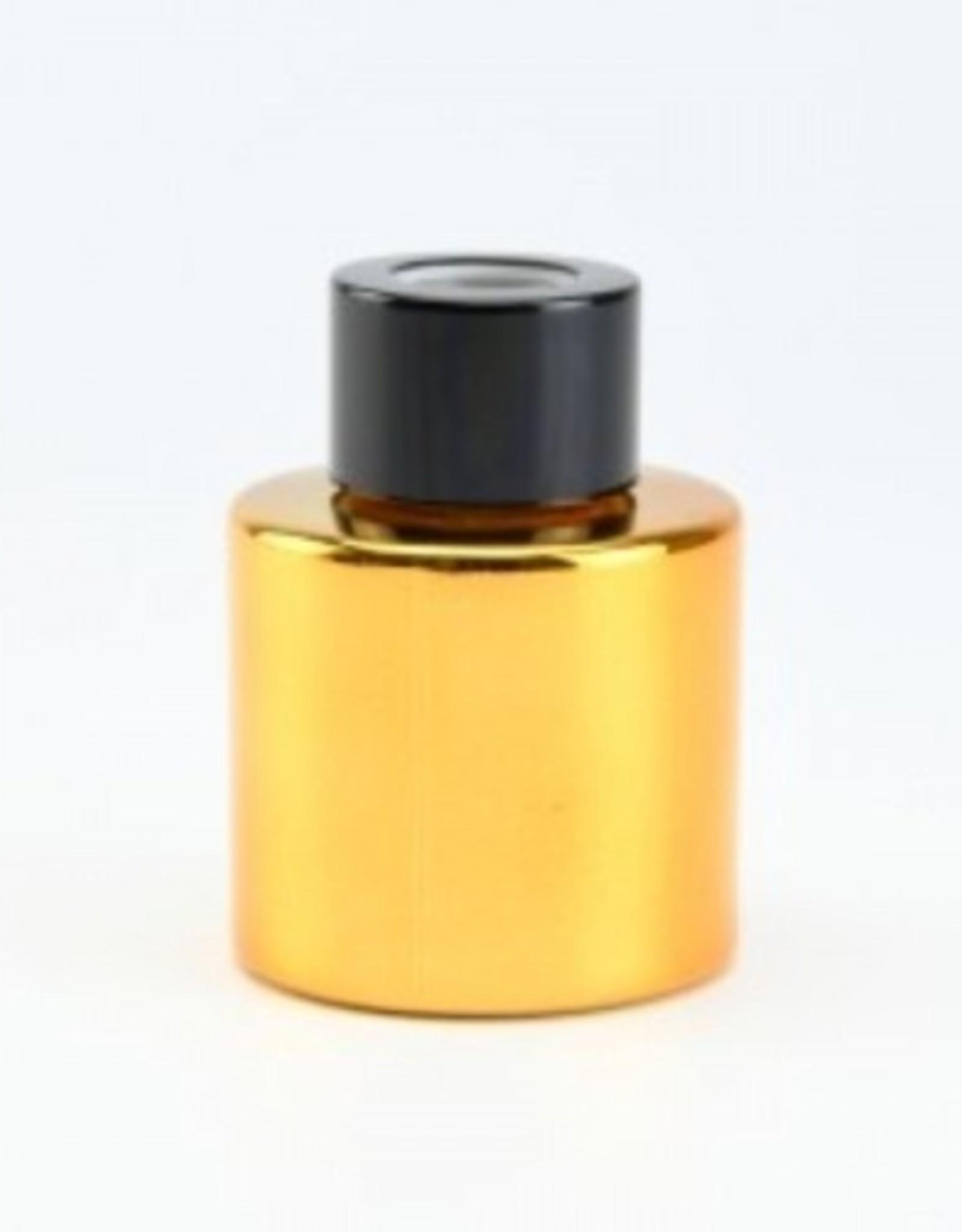 Parfumflesje rond 50ml glanzend goud met gouden dop - incl geurstokjes