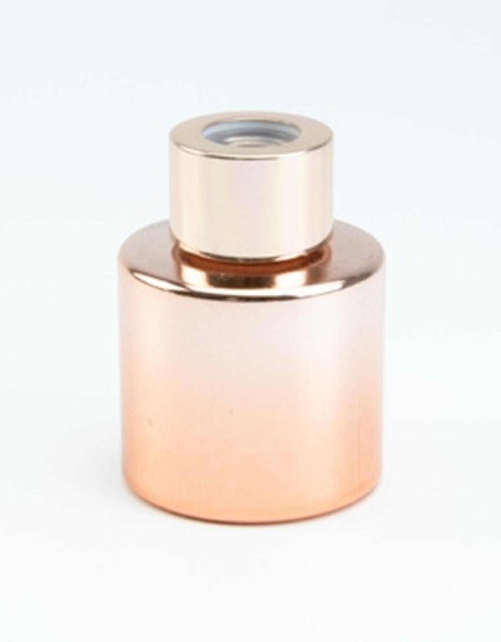 Parfumflesje rond 50ml glanzend roségold met roségolddop - incl geurstokjes
