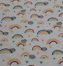 Poppy Jersey GOTS rainbow lichtgrijs