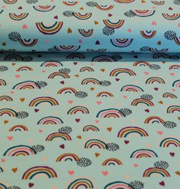 Poppy COUPON Jersey GOTS rainbow mint 25x140cm