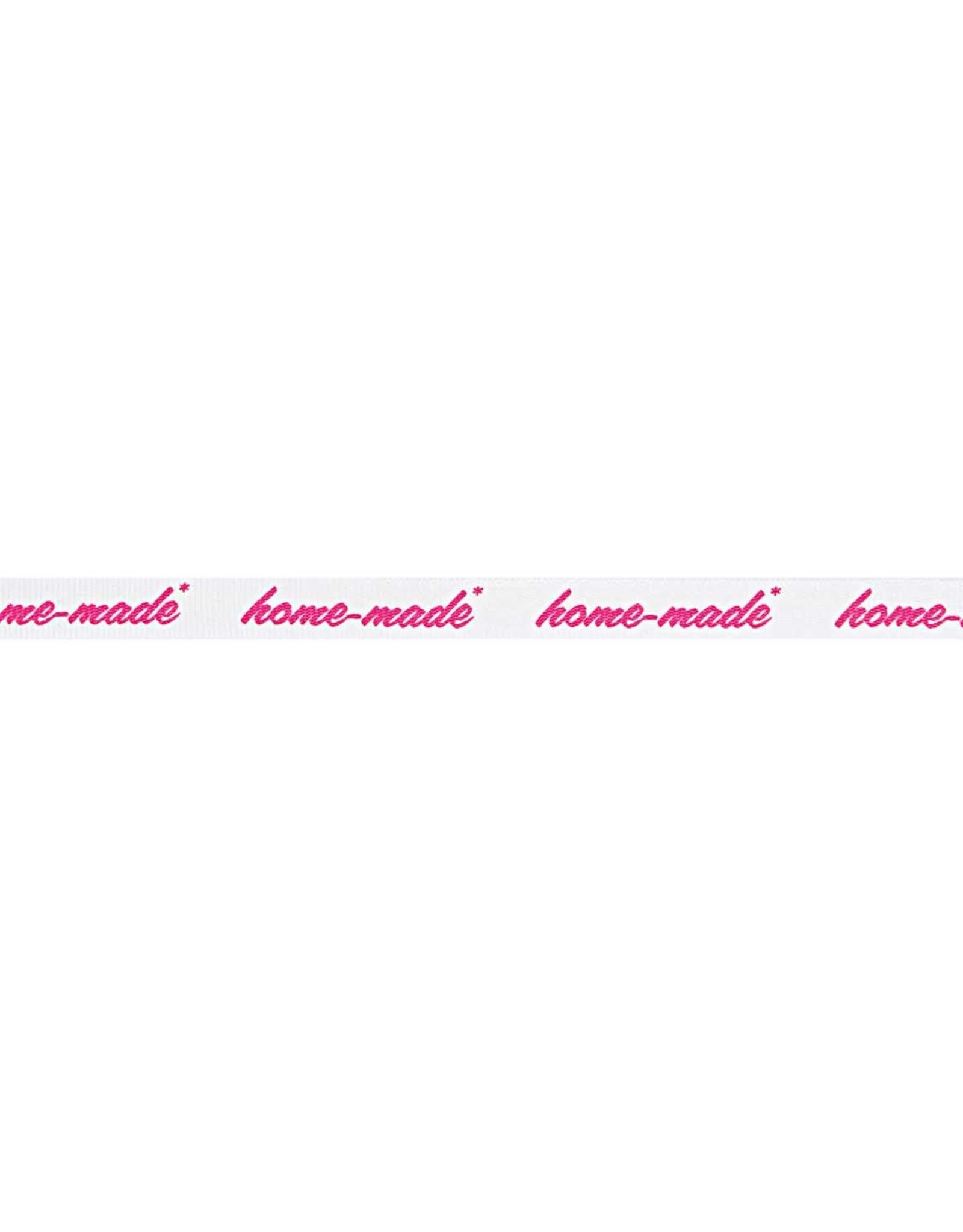 Rico Design Ribslint tekst Home-made neon pink