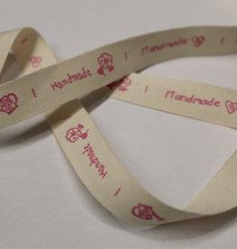 Lint handmade verschillende labels 5cm groot, rose