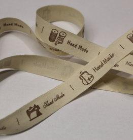 Lint handmade verschillende labels 5cm groot, bruin