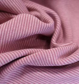 boordstof fijn gestreept roze 35cm tubular