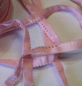 Lingerie elastiek  vouwtresse met kantje 10mm lichtrose