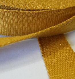 Tassenband glitter goud oker 30mm