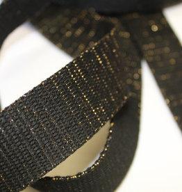 Tassenband glitter goud zwart 30mm