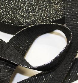Tassenband glitter zilver zwart 30mm