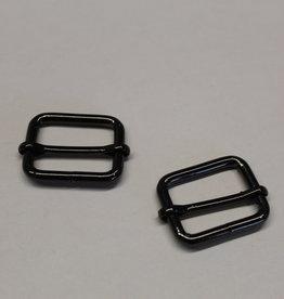 Schuifgesp 30mm zwart zilver met verschuifbaar middenstuk