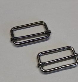 Schuifgesp 40mm zilver met verschuifbaar middenstuk
