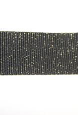 Tassenband katoen glitter goud zwart 40mm
