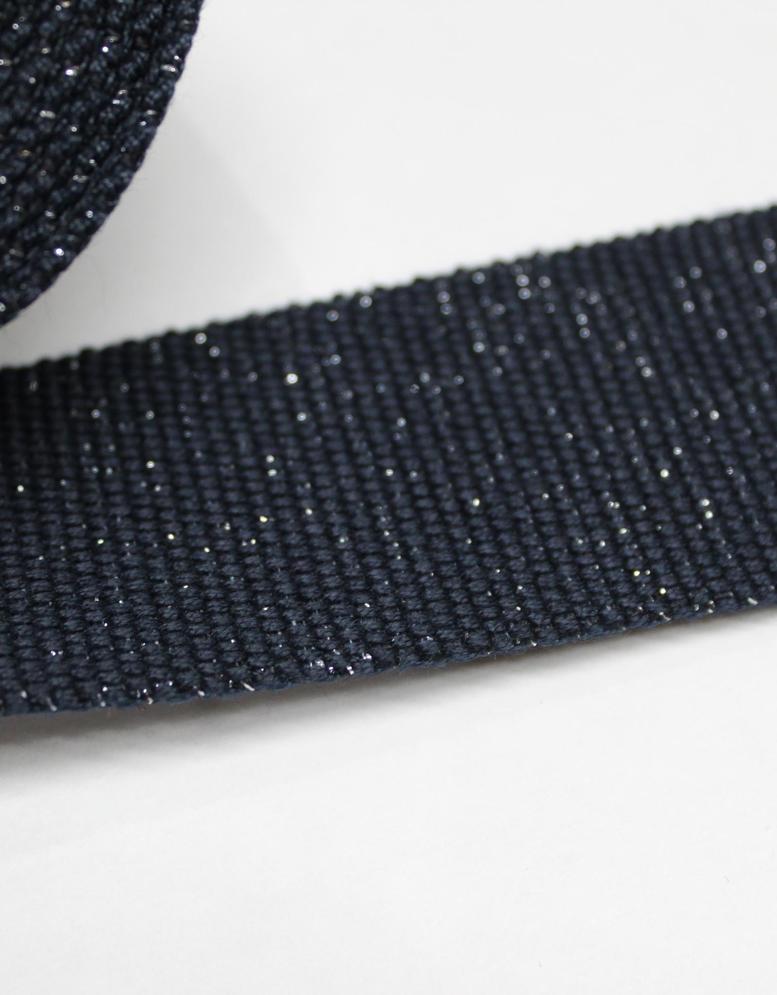 Tassenband katoen glitter zilver blauw 40mm