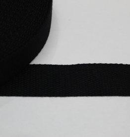 Tassenband katoen 30mm zwart