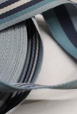 Tassenband double face blauw gestreept 40mm