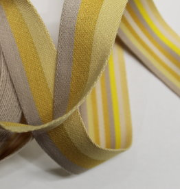 Tassenband double face geel gestreept 40mm